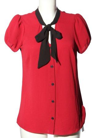 Bluzka z kokardą czerwony-czarny W stylu biznesowym