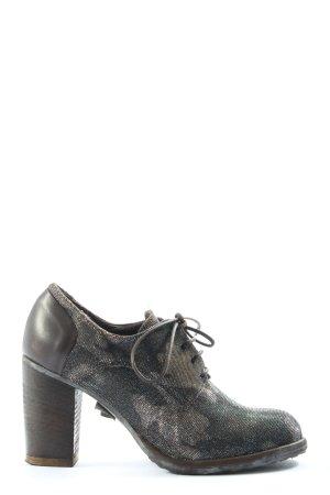 Sgn. Schnürschuhe schwarz-goldfarben Camouflagemuster Business-Look