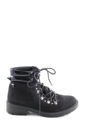Bottes à lacets noir-argenté style décontracté
