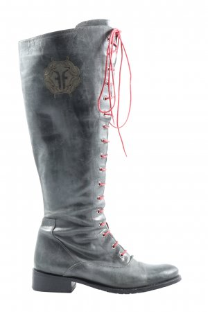 Lace-up Boots light grey printed lettering elegant