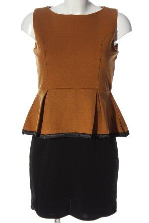 gemello Sukienka z baskinką brązowy-czarny W stylu casual