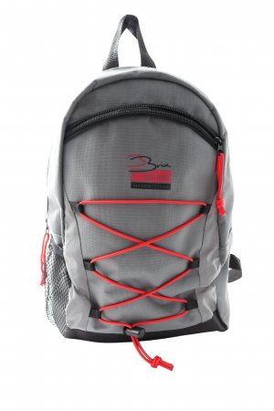 School Backpack light grey-red printed lettering casual look