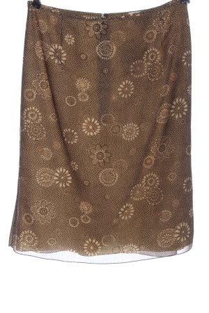 Falda de seda marrón-crema estampado repetido sobre toda la superficie