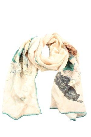 plumeria Écharpe en soie crème imprimé avec thème style décontracté