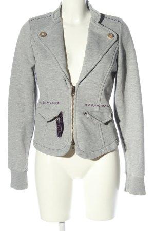 Giacca-camicia grigio chiaro puntinato stile casual