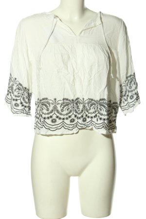 Shirt Tunic white-black flower pattern casual look