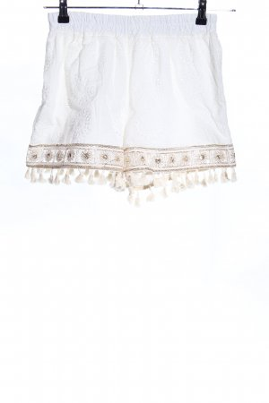 Shorts white-gold-colored flower pattern casual look