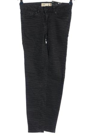 Gina Tricot Slim Jeans schwarz-hellgrau Streifenmuster Casual-Look