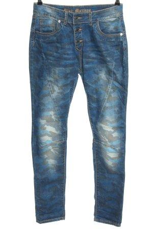 Slim Jeans blau Camouflagemuster Casual-Look