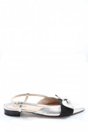 Slingback Ballerinas silver-colored-black casual look