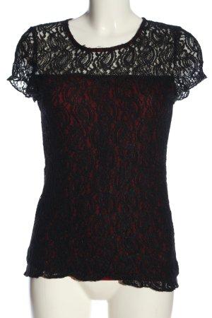 Blusa in merletto nero-rosso stile casual