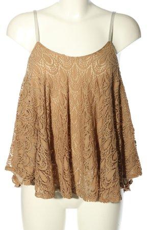 Top di merletto marrone modello web stile casual