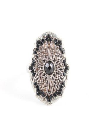 Bague incrustée de pierres argenté-noir élégant