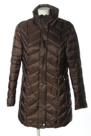 Pikowany płaszcz brązowy Wzór w paski W stylu casual
