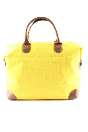 Bolso de tela amarillo pálido-marrón look casual
