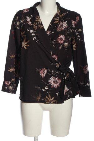 Blazer in maglia marrone-rosa stampa integrale stile professionale