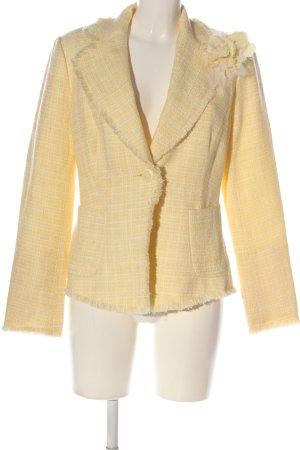 WD. NY Blazer in maglia giallo pallido-bianco motivo a quadri stile casual