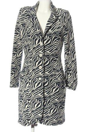 Cappotto a maglia blu-bianco stampa integrale stile casual