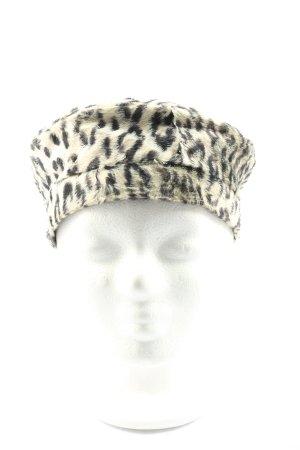 Cappello a maglia grigio chiaro-nero stampa integrale stile casual