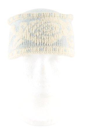Strickmütze creme-blau abstraktes Muster Casual-Look