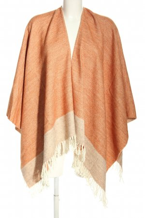 Knitted Poncho light orange-natural white casual look