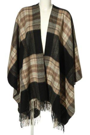 Poncho en tricot motif à carreaux style décontracté