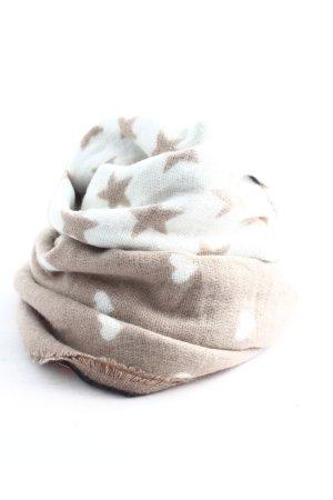 Gebreide sjaal bruin-wit abstract patroon casual uitstraling