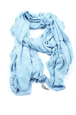 Sciarpa lavorata a maglia blu-bianco motivo a righe stile casual