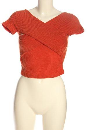 Gebreide top licht Oranje volledige print casual uitstraling