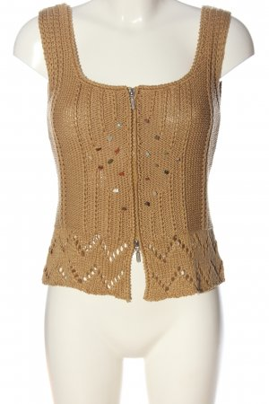 Knitted Vest brown cable stitch casual look