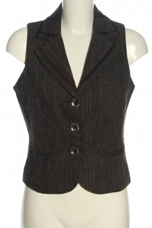 Geisha Gilet tricoté brun Motif de tissage style d'affaires