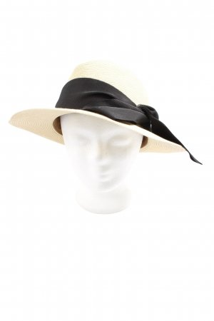 Straw Hat cream-black casual look