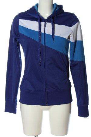 Sweatjack blauw-wit gestreept patroon atletische stijl