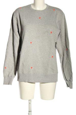 Sweatshirt hellgrau-rot Allover-Druck Casual-Look