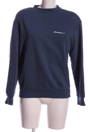 Sweatshirt blau Schriftzug gedruckt Casual-Look