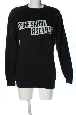 Bluza dresowa czarny Nadruk z motywem W stylu casual