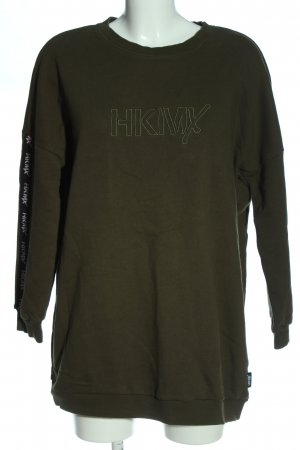 HKMX Sweatshirt khaki Schriftzug gestickt Casual-Look