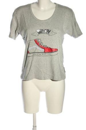 T-Shirt hellgrau-rot meliert Casual-Look
