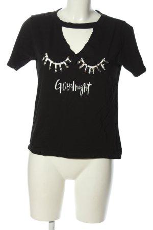 Derin life T-Shirt schwarz-weiß Motivdruck Casual-Look