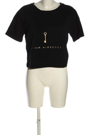 T-Shirt schwarz-goldfarben Schriftzug gedruckt Casual-Look