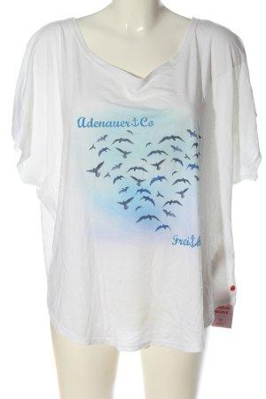 Adenauer & Co T-shirt biały-niebieski Nadruk z motywem W stylu casual