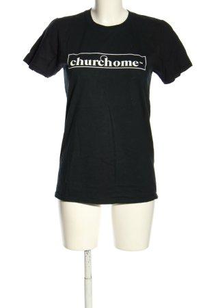 T-Shirt schwarz Motivdruck Casual-Look