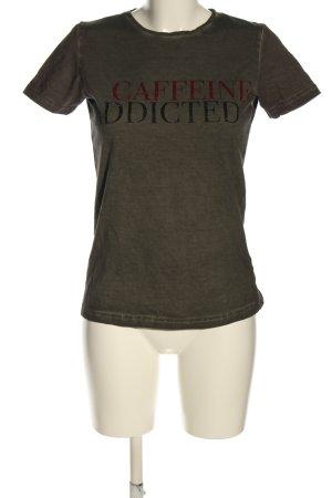 T-Shirt khaki Schriftzug gedruckt Casual-Look