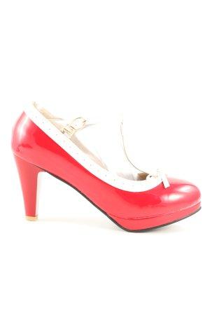 Pixie Love Zapatos de tacón con barra en T rojo-blanco puro look casual