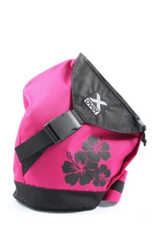 Mochila rosa-negro estampado floral elegante