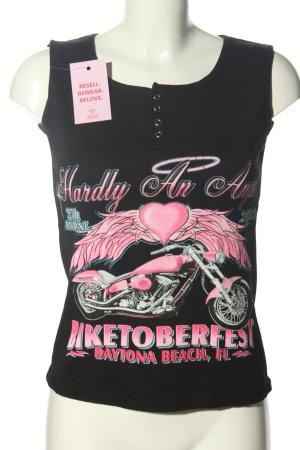 Vance BikerWear Camiseta sin mangas negro-rosa estampado temático look casual