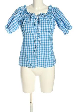 Alpenzauber Folkloristische blouse blauw-wit volledige print casual uitstraling