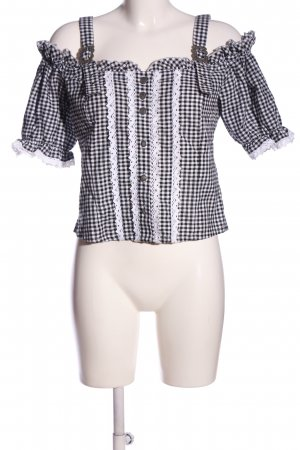 urachten Traditional Blouse black-white check pattern casual look