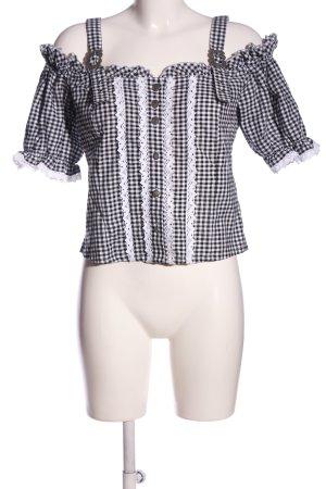 urachten Blusa tradizionale nero-bianco motivo a quadri stile casual