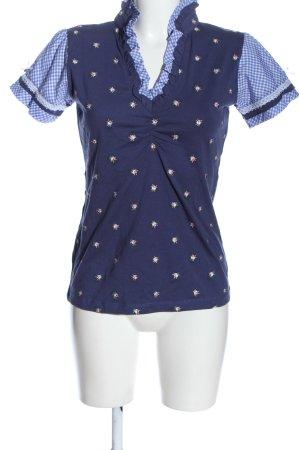 Blusa tradizionale blu-bianco stampa integrale stile casual